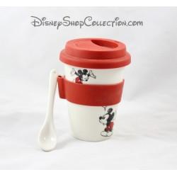 Mug de voyage Mickey DISNEYLAND PARIS céramique couvercle silicone cuillére 12 cm
