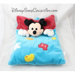 Coussin range pyjama souris Mickey DISNEYLAND PARIS rectangle bleu rouge 40 cm