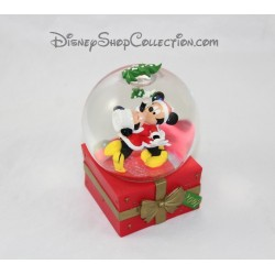 Snow globe Mickey et Minnie DISNEY Bisous sous le gui cadeau de Noël boule à neige 2007 14 cm