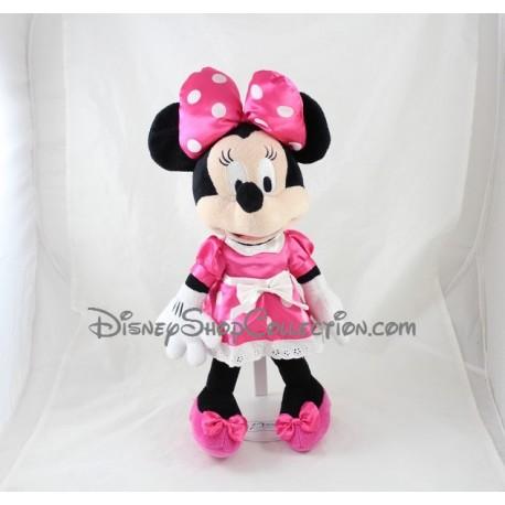 Peluche Minnie DISNEYLAND PARIS classique robe rose pois blanc satinée Disney 40 cm