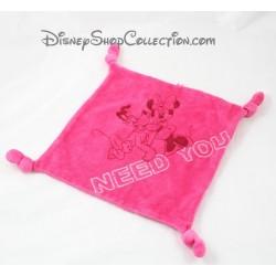 Doudou plat Minnie et Pluto DISNEY Need You carré rose 4 noeuds