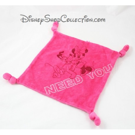 Doudou plat Minnie et Pluto DISNEY Need You carré rose 4 noeuds