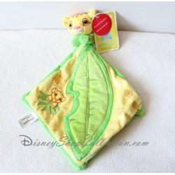 Doudou plat lion Simba DISNEYLAND PARIS feuille verte hochet Disney Le Roi Lion