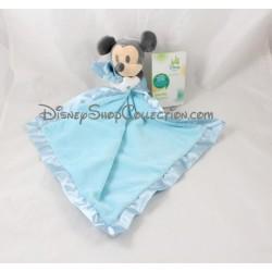 Doudou mouchoir satin DISNEY STORE Mickey bleu Disney Baby 13 cm