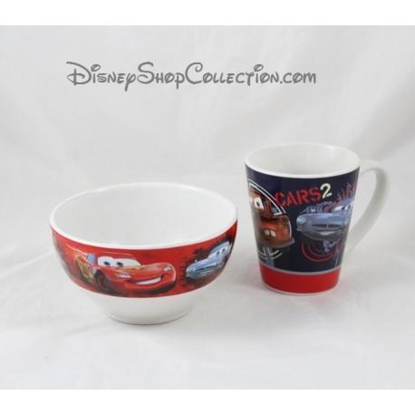 Mug + bol DISNEY Cars 2 tasse rouge bleu céramique