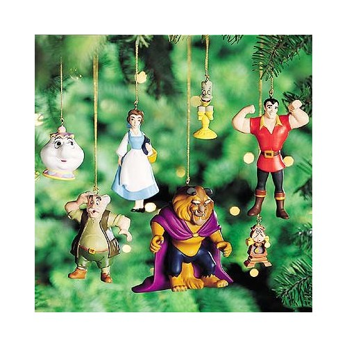 Book Storybook Beauty And The Beast Walt Disney Set 7 Fig Ornaments