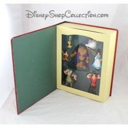 Book Storybook beauty and the beast WALT DISNEY set 7 ornaments figurines resin Story book 10 cm