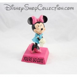 Statuette en résine Minnie DISNEY You're so cute rose bleu 15 cm