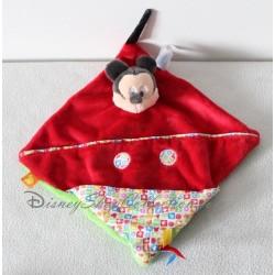 Doudou plat Mickey NICOTOY carré marionnette rouge vert poche Disney