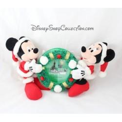 Peluche cadre photo Mickey Minnie DISNEYLAND PARIS Noël rouge vert couronne 35 cm