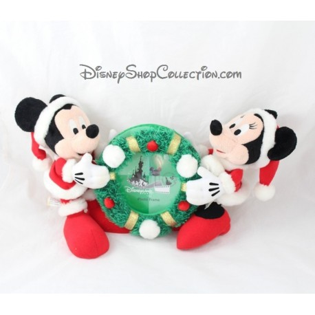 Plush Mickey Minnie Disneyland Paris Red Green Christmas Photo Frame