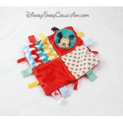 Doudou plat Mickey DISNEY NICOTOY carré rouge étiquettes tissus 19 cm