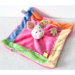Doudou plat Porcinet DISNEY BABY carré multicolore feuille imprimée 26 cm