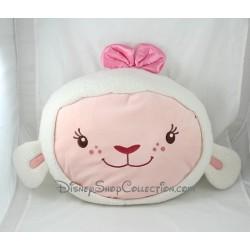 Coussin tête mouton Caline DISNEY Docteur la peluche blanc rose 38 cm