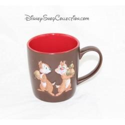 Mug mat Tic et Tac DISNEYLAND PARIS marron et rouge pailleté tasse céramique