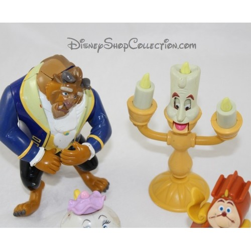 Set Of 4 Figurines Beauty And The Beast Disney Articulated Mcdonald