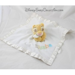 Doudou plat Simba DISNEY STORE Roi Lion blanc bords satin 33 cm