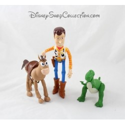 Lot of 3 DISNEY PIXAR Toy Story Woody Pil hair Rex figurines