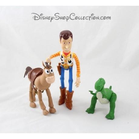 Lot of 3 DISNEY PIXAR Toy Story Woody Pil hair Rex figurines