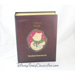 Livre Storybook Classic Pooh DISNEY Christmas Collection set 7 ornements figurines résine Winnie l'Ourson Story book 7 cm