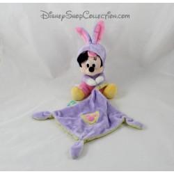 Doudou souris Minnie DISNEY NICOTOY capuche déguisé en lapin et mouchoir violet