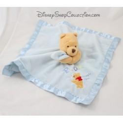 Doudou plat Winnie l'ourson DISNEY STORE Snuggle Time bords satin bleu 34 cm