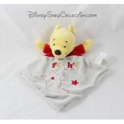 Doudou plat Winnie DISNEY BABY Pooh's toy box rouge gris 30 cm