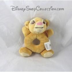 Peluche hochet lion Simba DISNEY STORE Le Roi Lion jaune grelot 16 cm