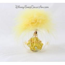 Boule de Noël plume Belle DISNEYLAND PARIS jaune sapin La Belle et la bête