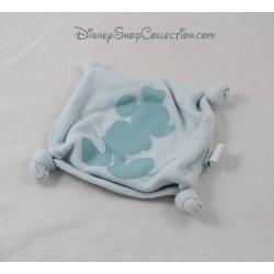 Doudou plat Mickey DISNEY carré bleu coins noués étoiles 17 cm