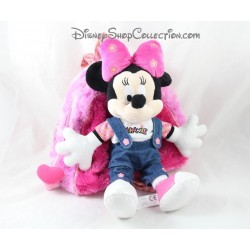 Backpack stuffed Minnie DISNEYLAND PARIS pink heart flowers 30 cm