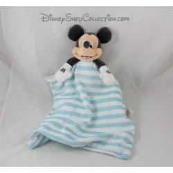Blanco de canastilla azul rayas Doudou Mickey DISNEY STORE cubrir 36 cm