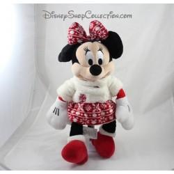 Peluche Minnie DISNEY STORE tenue de fête Noël jupe en laine 2015 43 cm