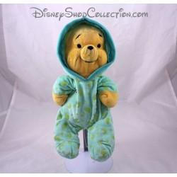 Peluche Winnie DISNEY pyjama vert phosphorescent lune luminescent 30 cm