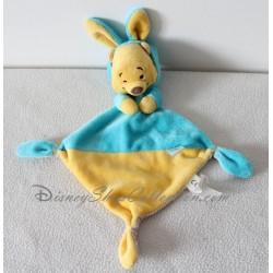 Doudou plat Winnie l'ourson NICOTOY capuche lapin bleu jaune Disney