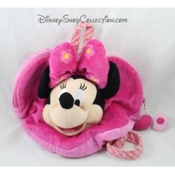 Sac à dos peluche Minnie DISNEYLAND PARIS rose coeur fleurs 35 cm