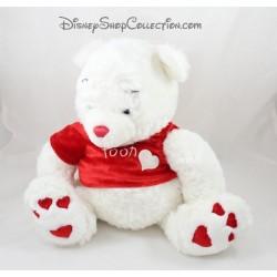 Peluche Winnie l'ourson DISNEY STORE blanc coeur rouge St Valentin 40 cm