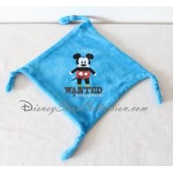 Doudou plat Mickey DISNEY carré bleu Mickey Wanted for friendship 20 cm