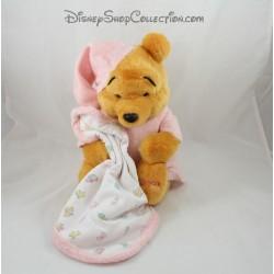 Peluche Winnie l'ourson DISNEY STORE couverture pyjama rose 2001