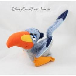 Peluche oiseau Zazu DISNEY STORE Le Roi Lion bleu orange billes 30 cm