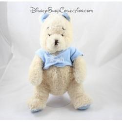 Peluche Winnie l'ourson DISNEY STORE bleu beige oreilles tricotées 32 cm