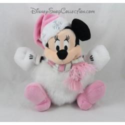 Peluche Minnie DISNEY STORE boule de neige Noël rose blanc 21 cm