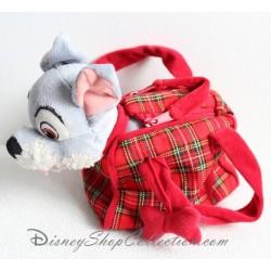 Peluche chien DISNEYLAND PARIS La Belle et le Clochard Scamp sac écossais
