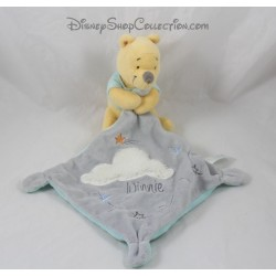Doudou Winnie l'ourson NICOTOY nuage blanc mouchoir gris Disney