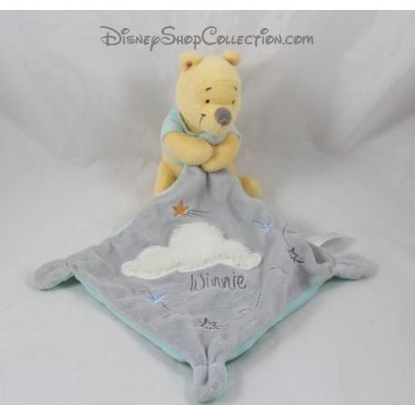 Doudou Winnie l'ourson NICOTOY nuage blanc mouchoir gris Disney
