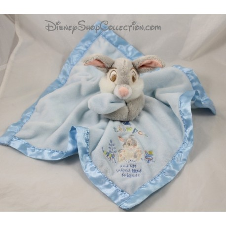 Doudou plat lapin Pan Pan DISNEY STORE satin bleu Thumper and this Woodland friends