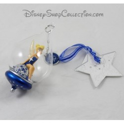 Boule de Noël en verre DISNEYLAND PARIS Fée Clochette bleue 25ème anniversaire Disney 13 cm