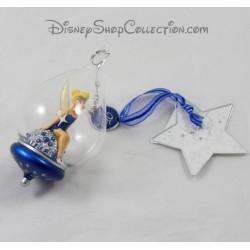 Sfera di vetro DISNEYLAND PARIS blu Tinkerbell Natale 25 anniversario Disney 13 cm