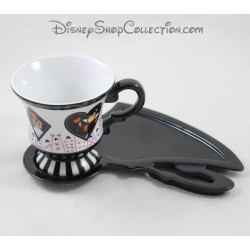 Mug and saucer DISNEY PARKS Alice in the Wonderland white 9 cm black