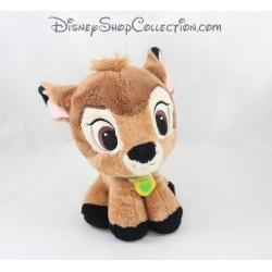 Peluche biche DISNEY NICOTOY Bambi grosse tête collier vert 23 cm